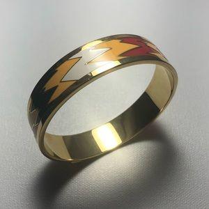 St John Zig Zag Enamel Gold Bangle